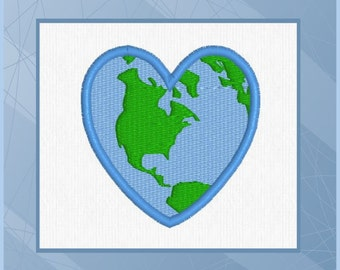 Heart shaped world etsy heart shaped earth earth world machine embroidery design gumiabroncs Gallery