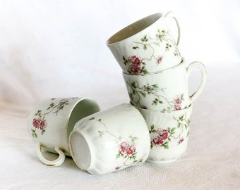 5 French Vintage Tea Cups, Coffee Cups, Vintage Cup, Porcelain, Pink Marguerittes, Flower Motif, Tea Time, French Cottage, Tableware, France