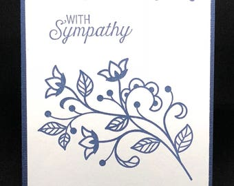 Sympathy card, Sorry card, With sympathy, Loving thoughts, Prayers, For your loss, Grief card, Mourning, Blue and white, Thinking of you