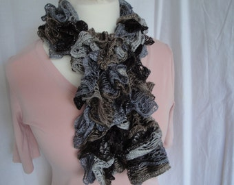 gray multi ruffle scarf, vegan knit scarf, sparkly ruffle scarf, brown-grey muffler, ruffled mesh tippet, frilly gray scarf, gift for women