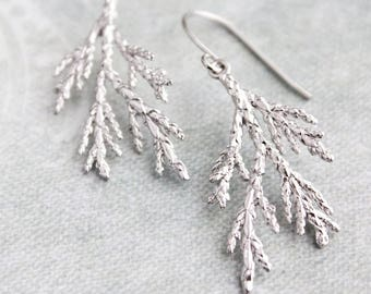 Silver Branch Earrings Spruce Tree Earrings Nature Inspired Woodland Wedding Lightweight Nickel Free Twig Gifts For Women Conifers Evergreen