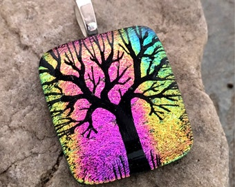 SALE Tree Dichroic Pendant Necklace,  Beautiful Rainbow Hand Etched Glass Art