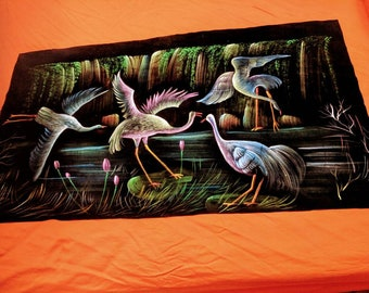 Bright and shiny Swan hand painted tapestry made of velvety material .