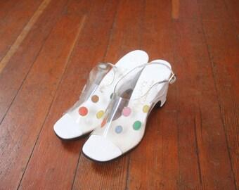 Vintage 1960s Open Toe Clear Plastic Vinyl Pastel Polka Dot Sling Back California Magdesians Heels size 6.5 S