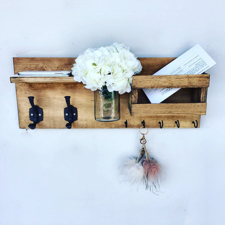 Mail Organizer (Flowers Included) , Entryway Organizer Key U0026 Mail Holder,  Coat Holder, Mason Jar Decor, Farmhouse Decor