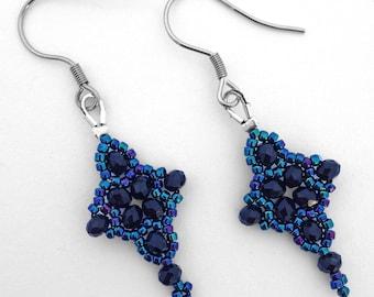 Sylvie earrings in Alchemy - black and blue - crystal statement earrings - fantasy - fairy - costume - bridal - bridesmaid - cross earrings