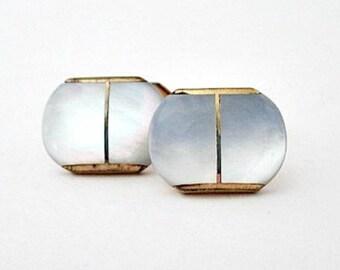 Vintage Mother of Pearl Cufflinks- 1940's MOP Cufflinks - Unisex Jewelry