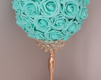 Robins Egg Blue Kissing Ball. Wedding Centerpiece. Mint Flower Ball. Pomander. Wedding Decor. Flower Girl.