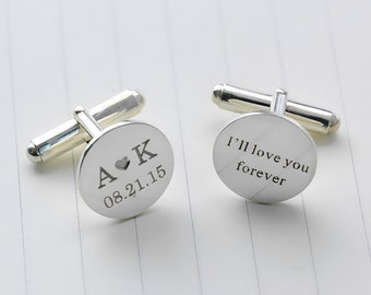 Personalized Wedding Cufflinks,Date and Initials Cufflinks,Custom Engrave Cufflinks,Personalized Groom Cufflinks With Heart,Men Gift C014