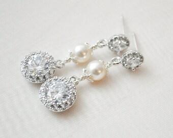 Crystal Bridal Earrings, Pearl and Crystal Wedding Earrings, Bridal Jewelry, Wedding Jewelry Earrings