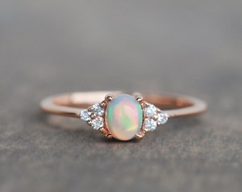 opal engagement ring, opal ring, opal ring gold, cluster engagement ring, rose gold opal ring, opal diamond ring, natural opal ring