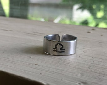 Libra Ring - Horoscope Ring - Zodiac Jewelry - Zodiac Ring - Astrology - Adjustable Stamped Ring