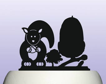 Acrylic Acorn Oak Tree and Squirrel Cake Topper Decoration and Keepsake Gift