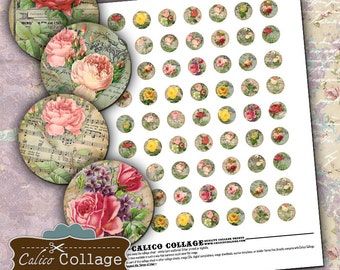 Bella Roses Digital Collage Sheet 18mm Circle Images for Pendants Decoupage Paper Vintage Flower Images Calico Collage Art Vintage Paper