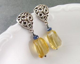 Citrine scrollwork post earrings, handmade recycled sterling silver earrings-OOAK