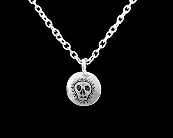 Skull Necklace, Day Of The Dead Necklace, Skull Necklace, Gothic Charm Necklace