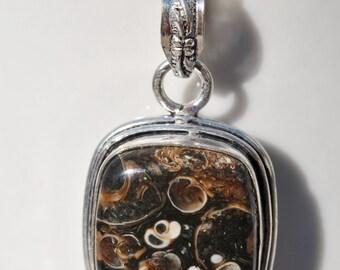 Necklace of Square Turitella Fossil Stone Pendant on Sterling Silver chain simple, boho, minimalist