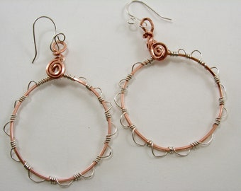 Mixed Metal Sterling Silver and Copper Hoop Earrings Wirewrapped