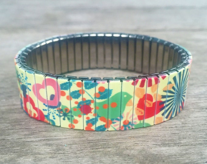 Bracelet SUNBURST, Hearts and Birds, Stretch Bracelet, Repurpose Watch Band, Sublimation, Stainless Steel, Wrist Band, gift for friends