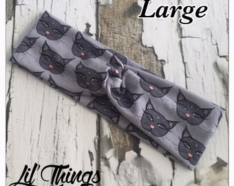 DMF Dark Matter Fabric Bitty Kitty Gray Twist Knot Headband Turban Headbands, S, M, L, Small, Medium, Large