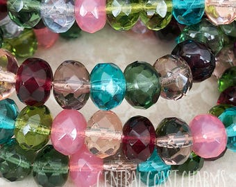 8mm x 6mm Czech Glass Bead Spacer Faceted Rondelle Rondell (25) Jewel Tone Mix Romantic Shabby Vintage Style Bohemian - Central Coast Charms