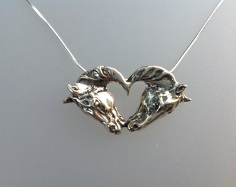 Kissing horses heart pendant sterling silver and chain horse jewelry Zimmer