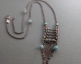 Long trendy tassel fringe copper necklace with aquamarine stones - Ladder fringe necklace - Cascade Necklace - Aquamarine necklace - NK045