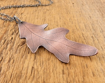Large leaf necklace, extra long chain, copper leaf pendant, rustic oak leaf necklace, ready to ship, gift for nature girl.