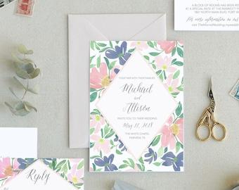 Spring Floral Wedding Invitations. Simple Wedding Invitations Templates Minimal Wedding Invitations Wedding Invitation Printable Wedding. -3