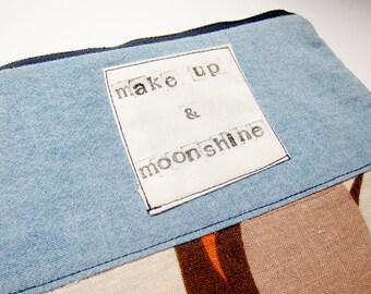 Makeup & Moonshine small zipper pouch eco conscious funny saying makeup bag upcycled tropical print denim country girl gift stocking stuffer