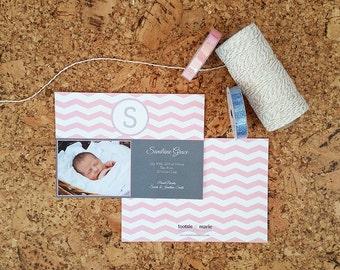 Boy/Girl Chevron & Monogram - Photo Birth Announcement - DIGITAL FILE