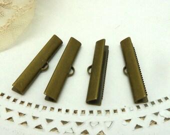 4 large antique bronze ribbon crimp ends 30 mm long x 5 mm wide
