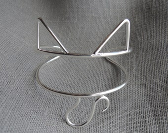 Sterling Silver Cat Cuff Bracelet -  Ears and Tail Adjustable - Sterling Silver 925 - Made to Order