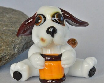 LAMPWORK  Dog Glass Bead,  lampwork glass bead, whimisical lampwork focal bead, Izzybeads SRA