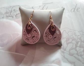 Teardrop and swarovski crystal dangling earrings