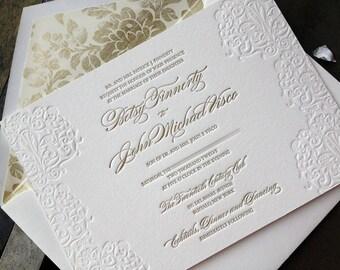 Elegant Gold Letterpress Wedding Invitation Suite-- Classic and Elegant Betsy & John Letterpress Invitation Set