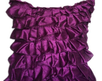 Purple Pillow Cover, Minimalist Pillow, Ruffles Pillow, Modern Pillow Covers
