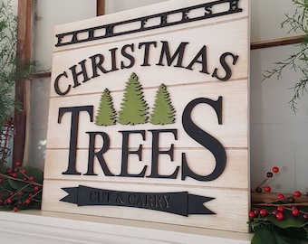 Farmhouse Christmas Sign - Christmas Tree Farm Sign- Rustic Christmas Decor - Designed to Prop or Lean for Display