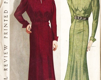 Pictorial Review 8391 Misses' Vintage 1930s Dress with Optional Peplum Sewing Pattern