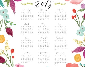 2018 Year at a Glance Botanical Wall Calendar — 11x14 and 8.5x11 DIGITAL DOWNLOAD