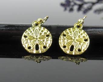 Surgical stainless steel, nickel free, gold earrings dangle, beach ocean jewelry, sand dollar earrings, round earrings, small gold drop