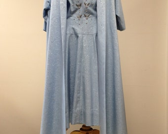 Vintage Baby Blue dress and coat, late 50's early 60s vintage dress, embroidered dress, Jackie Kennedy dress, retro dress