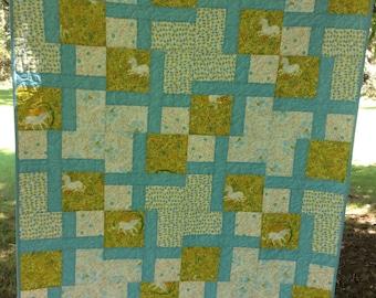 Clearance Quilt , Baby quilt, toddler quilt, unicorn quilt, Heather Ross quilt.