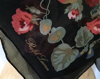 Ralph Lauren Silk Scarf, Botanical, Roses, SALE