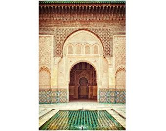 Morocco Travel Photograph, Fine Art Print, Ethnic Photo, Moroccan Mosaic Tiles, Islamic Art, Marrakesh, Large Wall Decor, Emerald, Zen, Door