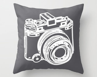 Camera Pillow  - Camera Cushion  - Camera Throw Pillow - Decorative Pillow - Modern Home Decor - By Aldari Home