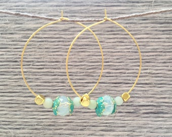 Gold plated Creoles with beads of Leopard, and Amazonite