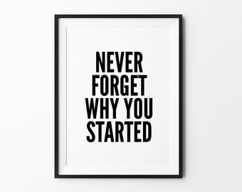 Motivational wall decor, wall art prints, quote prints, minimalist, black and white, typography poster, Never Forget Why You Started