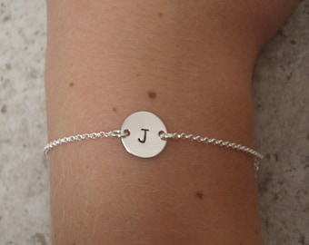 Dainty initial bracelet - Hand stamped personalized bracelet - Sterling silver dainty bracelet - Small initial disc bracelet - ONE bracelet