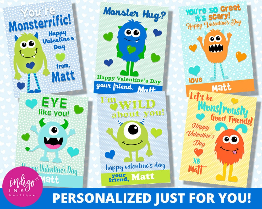 Personalized Monster Valentines Day Card Kids Valentines
